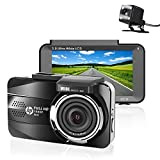 HP Dual Dash Cam for Car, In Car Camera DVR Full HD 1080P, 3.0'' LCD Dashboard Camera, Front and Rear Car Cam with Night Vision, G-Sensor, Loop Recording, Parking Mode