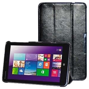 3 Crazy Horse-folding Texture PU Flip Cover, Holder Case Funda Para Lenovo Miix 2-8 (Black)