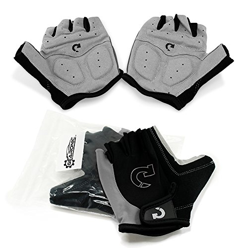 - GEARONIC TM Cycling Bike Bicycle Motorcycle Glove Shockproof Foam Padded Outdoor Workout Sports Half Finger Short Gloves - Gray L