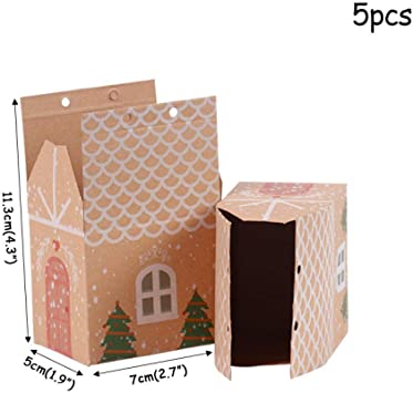 QUQUET Caja de Regalo de Papel de Halloween Truco o Trato Cajas de Dulces Bolsa Noel Decoraciones navideñas para el hogar Caja de Regalo Bolsas Kerst Año Nuevo Navidad @ 5pcs_Paper_Bag: Amazon.es: