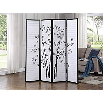 Black//Cherry//Natural by SQUARE FURNITURE 4 Panel Room Divider Coaster Oriental Floral
