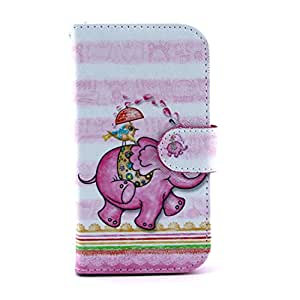 TJA Elephants Design PU Leather Stand Flip Case Cover for Samsung Galaxy S4 SIV i9500