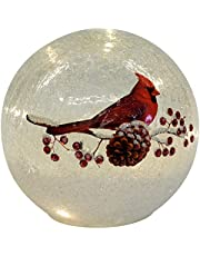 Cardinal on Pinecone Crackle Glass Small 6 Inch LED Light Up Globe Tabletop Decoration