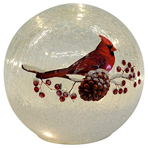 Lighted Crackle Glass Cardinal - 6 Inch Battery ()