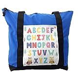 Lunarable ABC Kids Shoulder Bag, Owl Trees Flower Nursery, Durable with Zipper