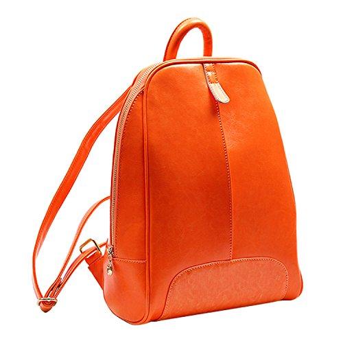 Shijinshi Women's Orange Leather Pure Color Backpack Shoulders Bag by Shijinshi