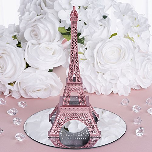 BalsaCircle 10-Inch Blush Metal Eiffel Tower Centerpiece for Wedding Party Favors Table Decorations Home Dinner ()