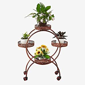 European-style iron multi-storey movable retro flower stand / floor style flower pot rack / living room flower shelf balcony