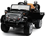 New 2015 Limited Edition Jeep Wrangler Style 12v Power Wheels Ride on Car with Leather Seat,Opening Doors,Music, Remote Control - Black