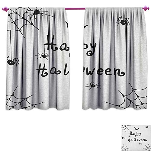 homefeel Spider Web Room Darkening Wide Curtains Happy Halloween Celebration Monochrome Hand Drawn Style Creepy Doodle Artwork Decorative Curtains for Living Room W55 x L39 Black -