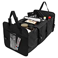 xhorizon SR Folding Car Trunk Organizer, Multipurpose Car Storage Bag Box, Oxford Fabric 3 Compartment Storage Bags Trunk Organizer for Car SUV Truck and Van