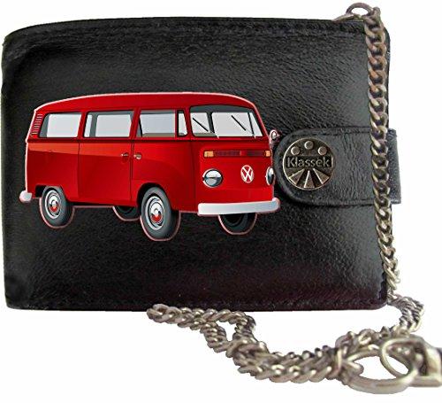Rot T2 VW Camper Klassek Herren Geldbörse Geldbeutel Portemonnaie mit Kette Volkswagon Wohnmobil Zubehör