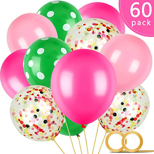 60 Pieces Watermelon Party Balloons, 12 Inches Polka Dot Latex Balloons Light Pink Rose Red Green Dot and Confetti Balloons with 2 Rolls Golden Ribbon for Baby Shower Fruit Party Decorations (Watermelon Inflate)