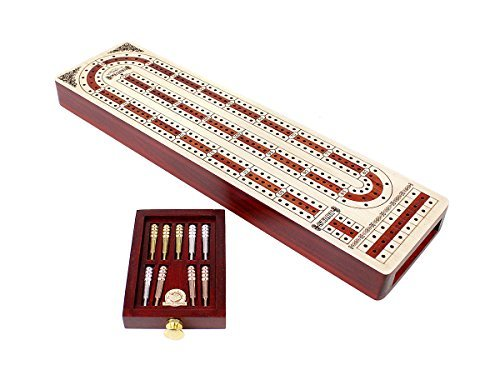 (House of Cribbage Continuous Cribbage Board Alphabet e Shape inlaid in Maple and Bloodwood with storage drawer for cribbage pegs 12.4