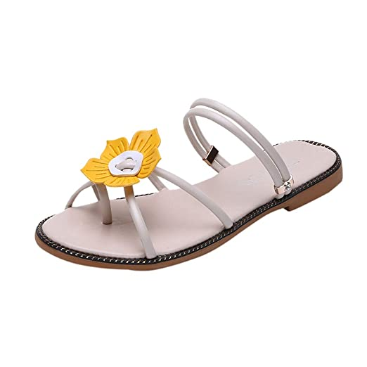 1f129d37ef54 Women Strap Flat Sandals Shoes Summer Bohemian Flower Ankle Ladies Strappy  Flip Flops Sandals by Lowprofile