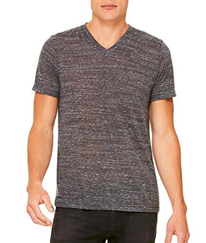 Bella mens Unisex Jersey Short-Sleeve V-Neck T-Shirt(3005)-CHARCOAL MARBLE-L