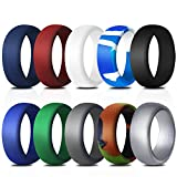 Rinspyre 10 Pack Silicone Wedding Ring for Men Rubber Bands, Black White Blue Silver Gray Size 11