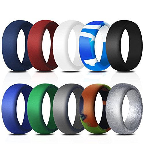 Rinspyre 10 Pack Silicone Wedding Ring for Men Rubber Bands, Black White Blue Silver Gray Size 11 by Rinspyre