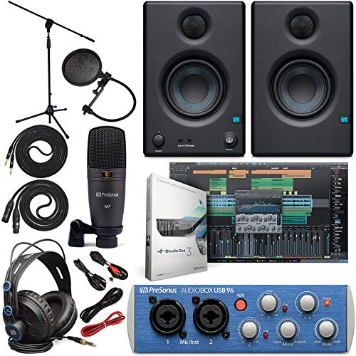Presonus AudioBox 96 Audio Interface Full Studio Bundle with Studio One Artist Software Pack w/Eris 3.5 Pair Studio Monitors and 1/4