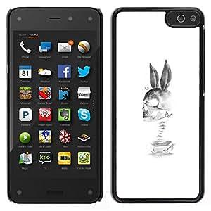 EJOY---Cubierta de la caja de protección para la piel dura ** Amazon Fire Phone ** --Conejo Cráneo Muerte Divertido Negro Blanco