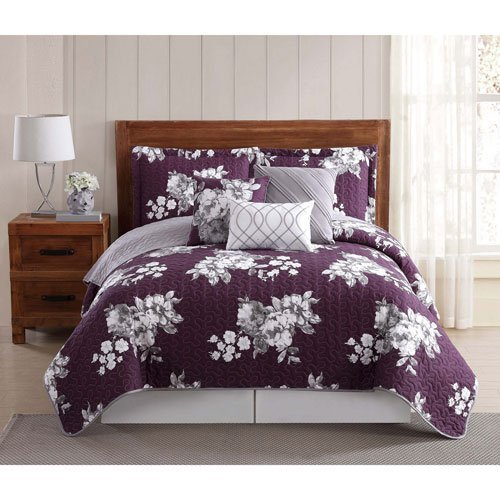 Style 212 6 Piece Peony Quilt Set Queen (6), King, Garden Floral Peony (Bedding Peony Floral Set)