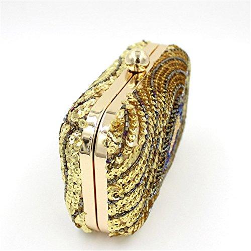 Pavo Bolso Con Plumas Gold De Chief Real Lentejuelas Mano Chirrupy Patrón RqW485wnp