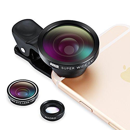 Amir¨ 3 in 1 Fisheye Lens Plus Macro Lens Plus 0.4x Super Wide Angle Lens, Clip on Cell Phone Lens Camera Lens