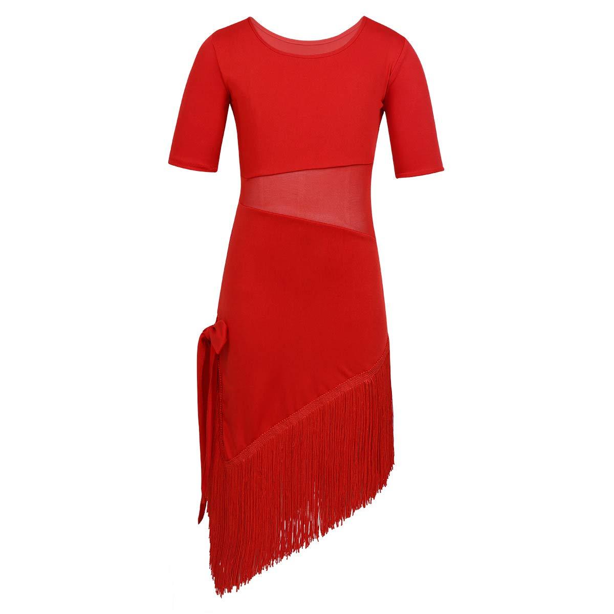 inlzdz Vestido de Danza Flamenca con Borlas para Niñas Traje ...