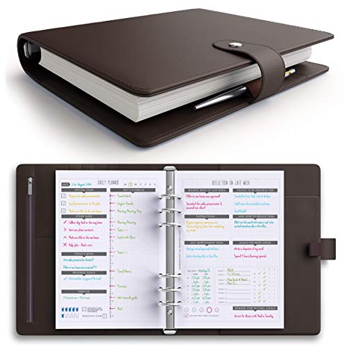 ([MSRP $50 - New - Flash Sale] LUX PRO Productivity Planner - Best A5 Undated Diary/Organizer with Daily Schedule & Reflection Journal - Manage Time/Projects/Finances - Goals & Gratitude (Dark Brown))