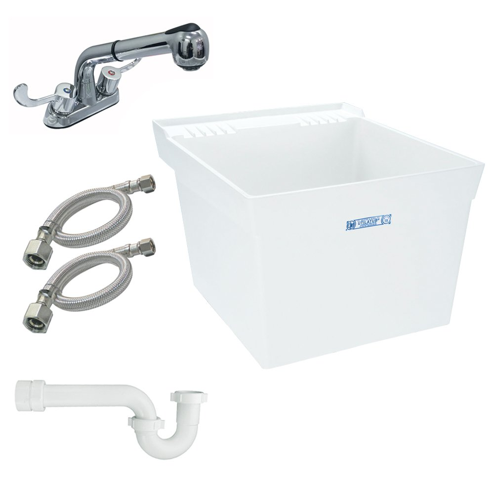 Mustee K-19W-FP Wall-Mount Laundry Tub with Pull-Out Faucet, White