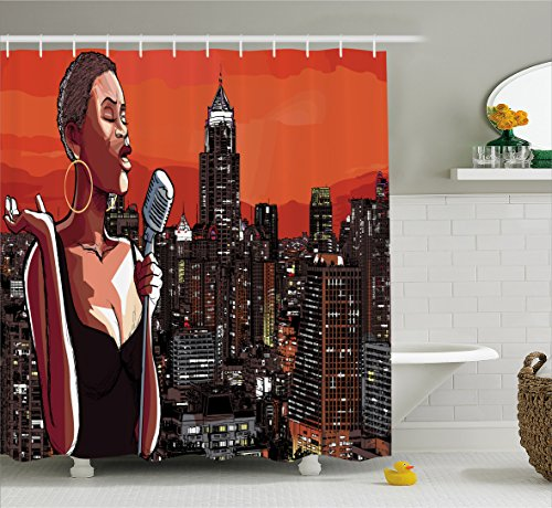 Afro Decor Shower Curtain by Ambesonne, Jazz Singer on New York Roof Cityscape Urban Music Popular Town Illustration , Fabric Bathroom Decor Set with Hooks, 70 Inches, Scarlet Grey
