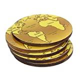 NOVICA Global Theme Decoupage Wooden Coasters, set of 5, 'Brown Cartography'