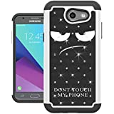For Samsung Galaxy J3 Emerge Case, J3 2017 Case, J3 Prime Case, Amp Prime 2 Case, Express Prime 2 Case, UrSpeedtekLive [Shock Absorption] Studded Rhinestone Bling Protective Case Cover (Don't touch)