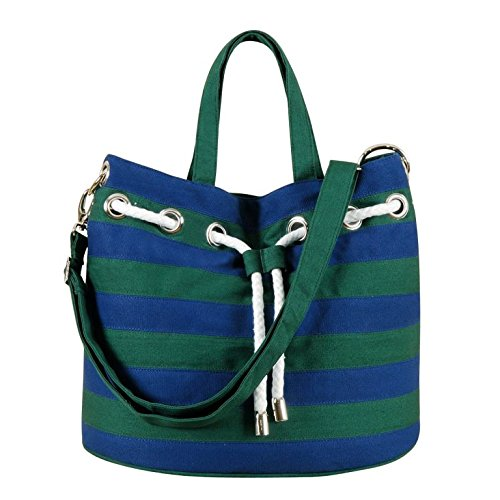 18X12X10 CANVAS BEACH TOTE NAVY/&GREEN