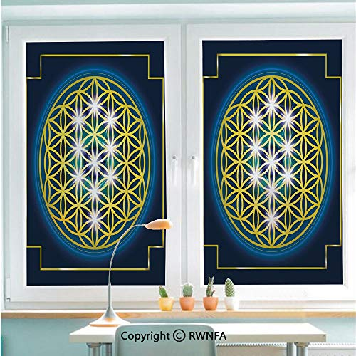 RWNFA Non-Adhesive Privacy Window Film Door Sticker Flower of Life in Internal Spirals with Vibrant Spots Belief Tradition Design Decorative Glass Film 22.8 in by 35.4in(58cm by 90cm),Indigo Yellow