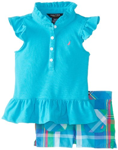Nautica Baby-Girls Infant Flutter Sleeve Top and Plaid Short Set, Turquoise, 18 Months