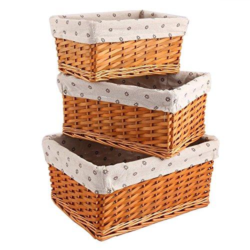 cosway Storage Box Handwoven Basket Bin Container Rectangular Organizer Set Stackable Storage Basket Wicker Strap Shelf Organizer Built (Woven Basket Set - 3 Piece) (C)