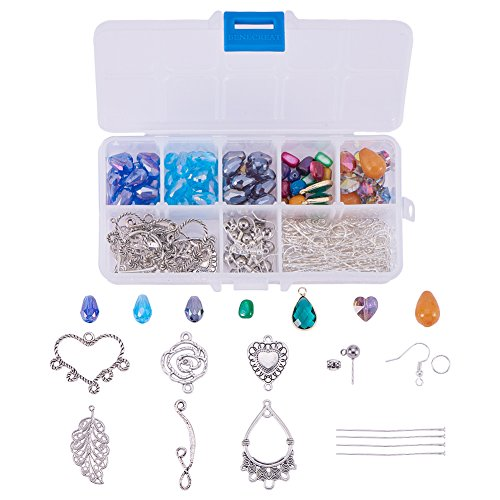 SUNNYCLUE 1 Set 214pcs Chandelier Earring Drop and Charm Pendant DIY Jewelry Making Starter Kit Include Drop Shell Heart Beads, Chandelier Components Link,Earring Hooks and Jewelry ()