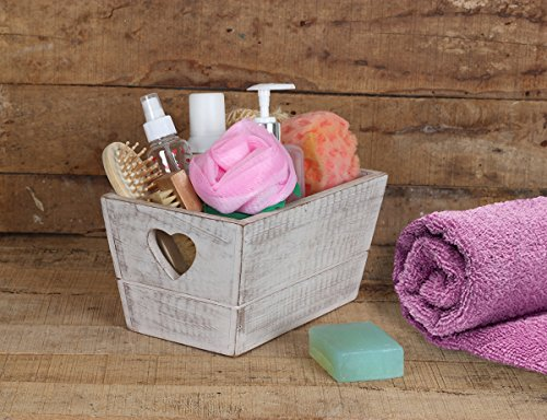 Wooden Open Storage Bin Basket Multi-utility Bathroom / Stationary / Fruits Organizer (10 x 6 x 5 inch) Handmade with Rustic Finish Tabletop Home Decor