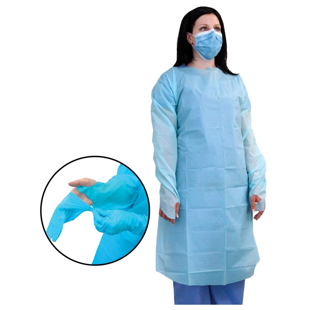 MediChoice Isolation Gown, Personal Protection, Open Back, Large, Blue, 131477755L (Case of 75)