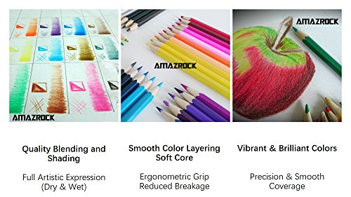 smooth colors amazoncom amazrock watercolor pencils set 36 colors soft core