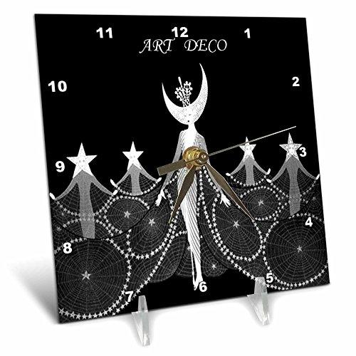 Florene Art Deco and Nouveau - Art Deco Dancers In Black n White - 6x6 Desk Clock (dc_49282_1)