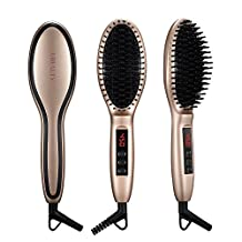 Paddle Hair Straightening Brush, Thermo Hair Straightener with Fast Heat Up, Anion Hair Care, Anti Scald, Auto-Lock for Curly Wavy Hair, Detangling Hair Brush Dryer for Wet and Dry Hair