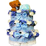 Sweet Baby Diaper Cake Gift Tower with Teddy Bear, Boy Blue