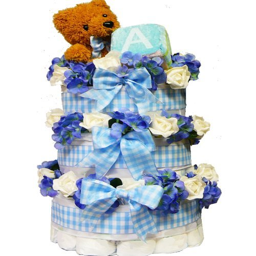Art of Appreciation Gift Baskets Sweet Baby Diaper Cake Gift Tower with Teddy Bear, Boy from Art of Appreciation Gift Baskets