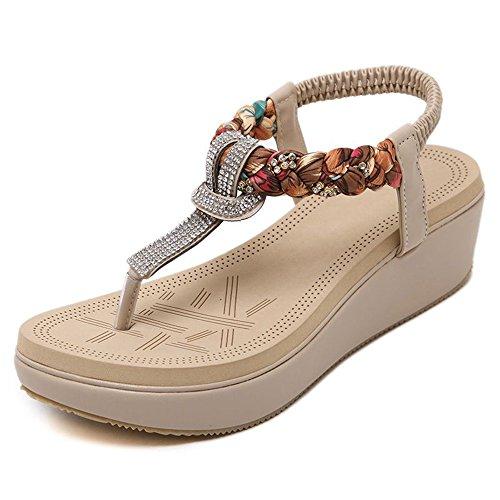 Sandalias XW Zapatillas de Verano Ronda de la Mujer Peep Clip Toe Plataforma Cuña Heel Rhinestone Elastic T-Strap Bohemia Roman Chanclas Zapatos Tangas para Mujeres Chicas Beige