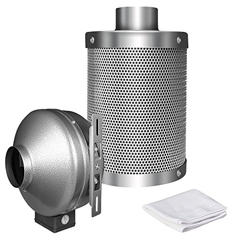 iPower 8 Inch 750 CFM Duct Inline Fan with 8 Inch Carbon Filter for Grow Tent Ventilation -