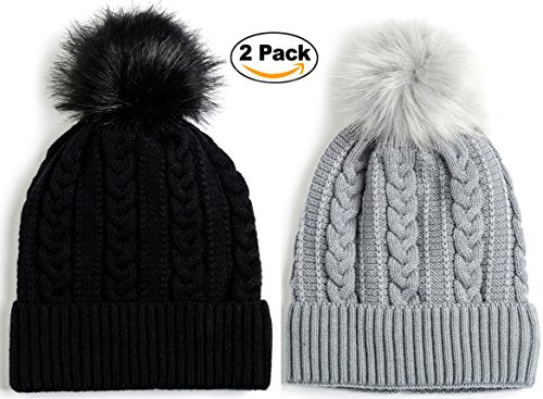 Newbee Fashion - Women Winter Faux Fur Pom Pom Beanie Hat With Warm Fleece Lined Thick Skull Ski Cap Stylish & Warm In Black & - Stylish Goggles
