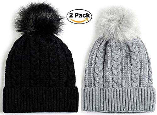 Newbee Fashion - Women Winter Faux Fur Pom Pom Beanie Hat With Warm Fleece Lined Thick Skull Ski Cap Stylish & Warm In Black & - Goggles Stylish
