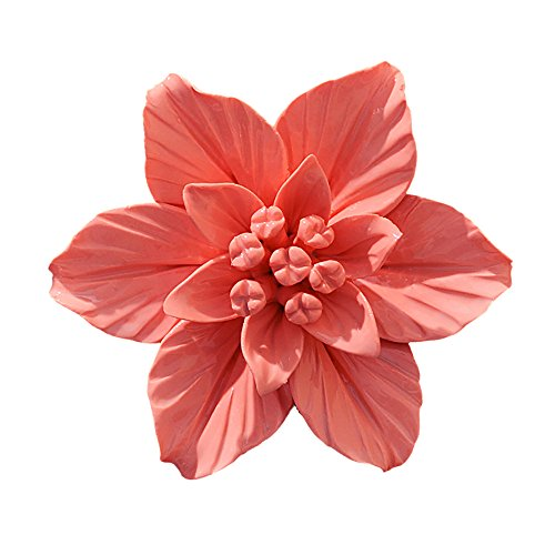 - ALYCASO Handmade Decorative Ceramic Flowers 3D Wall Decor Hanging Room Decoration Art Gardenia Orange Large 4.7in